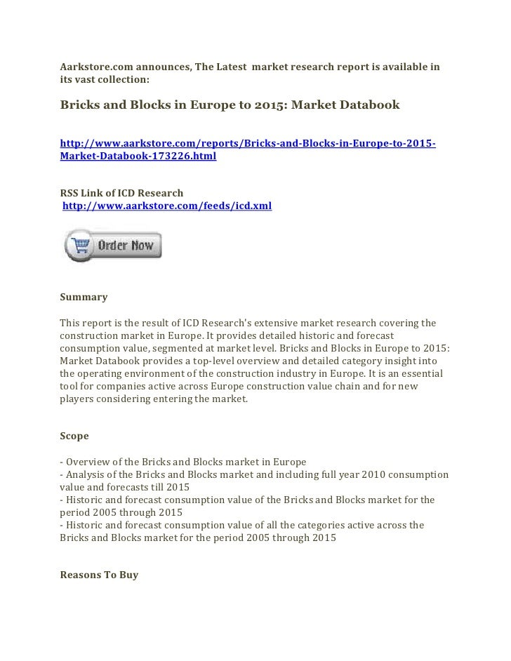 Bricks and blocks in europe to 2015 market databook