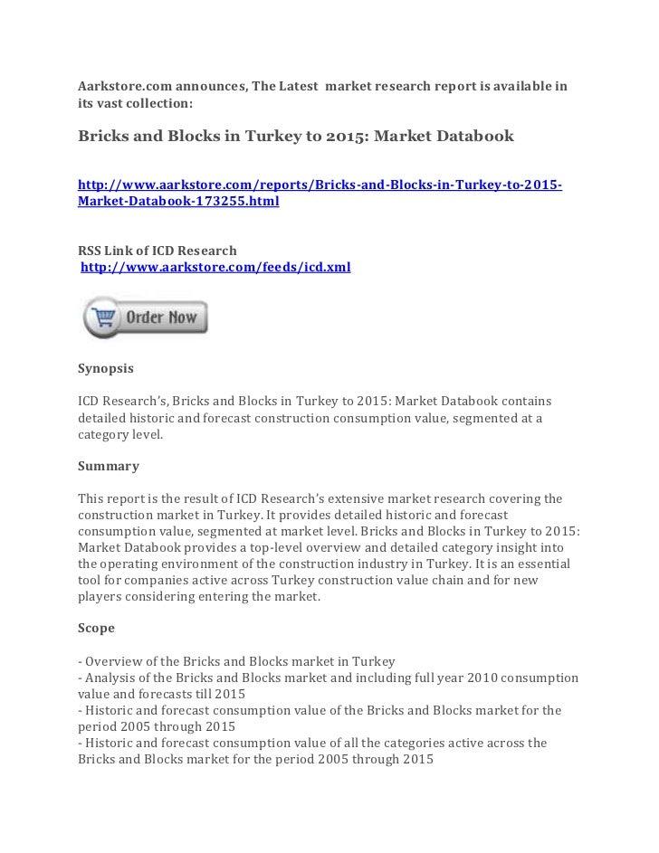 Bricks and blocks in turkey to 2015 market databook