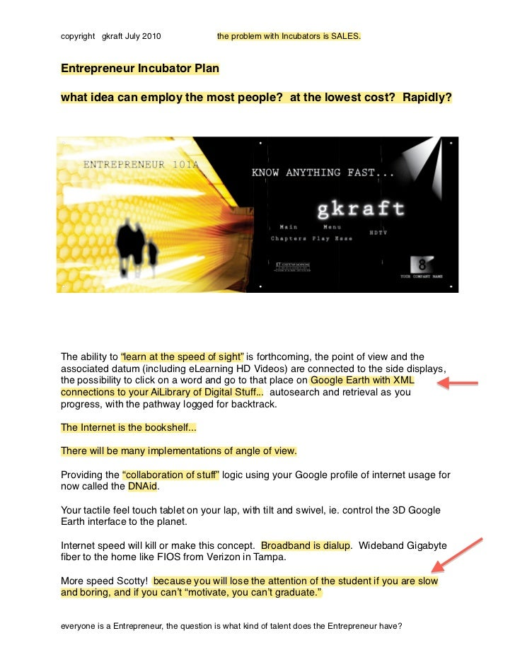 copyright gkraft July 2010               the problem with Incubators is SALES.Entrepreneur Incubator Planwhat idea can emp...