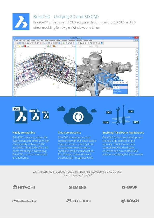 BricsCAD  Unifying 2D and 3D CAD BricsCAD® is the powerful CAD software platform unifying 2D CAD and 3D direct modeling fo...