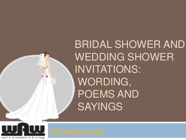 Bridal shower and wedding shower invitations wording, poems and