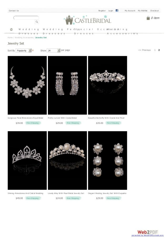 Sort By Popularity Show 24 per page << Previous 1 2 Home / Wedding Accessories / Jewelry Set Jewelry Set W e d d i n g D r...