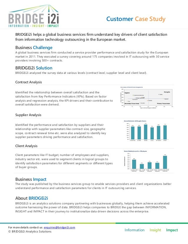 Customer Case Study     BRIDGEi2i helps a global business services firm understand key drivers of client satisfaction     ...