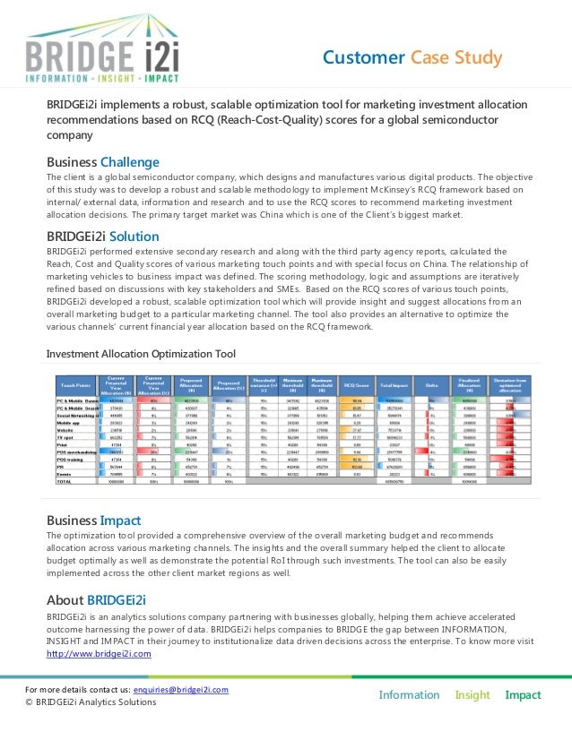Customer Case Study BRIDGEi2i implements a robust, scalable optimization tool for marketing investment allocation recommen...