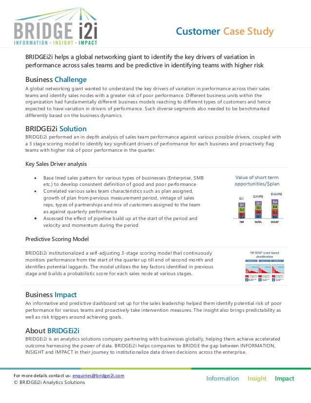 Customer Case Study     BRIDGEi2i helps a global networking giant to identify the key drivers of variation in     performa...