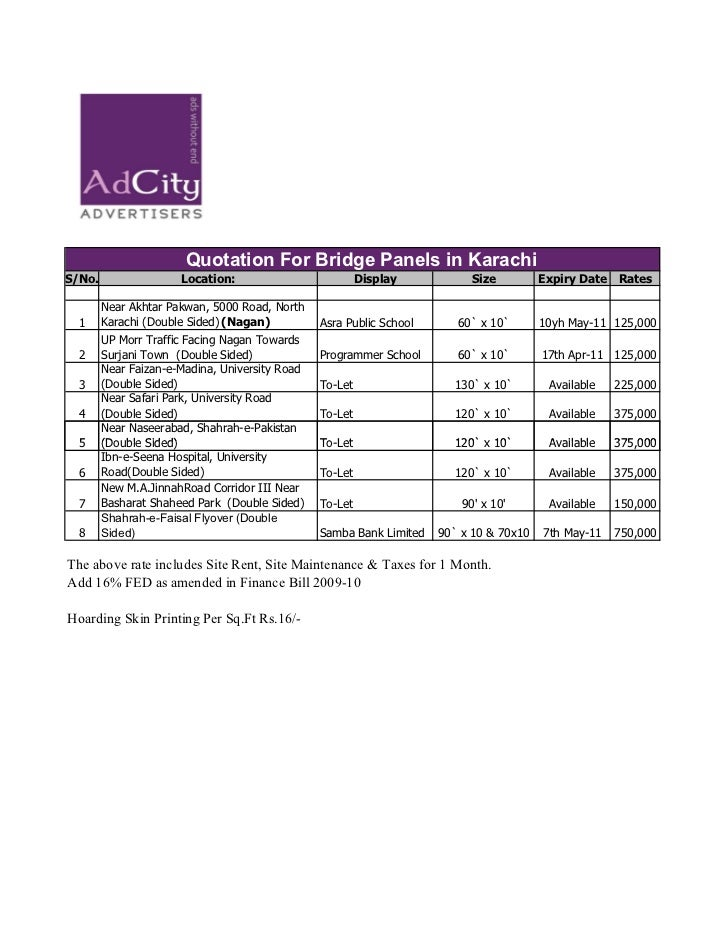 Quotation For Bridge Panels in KarachiS/No.                 Location:                          Display           Size     ...