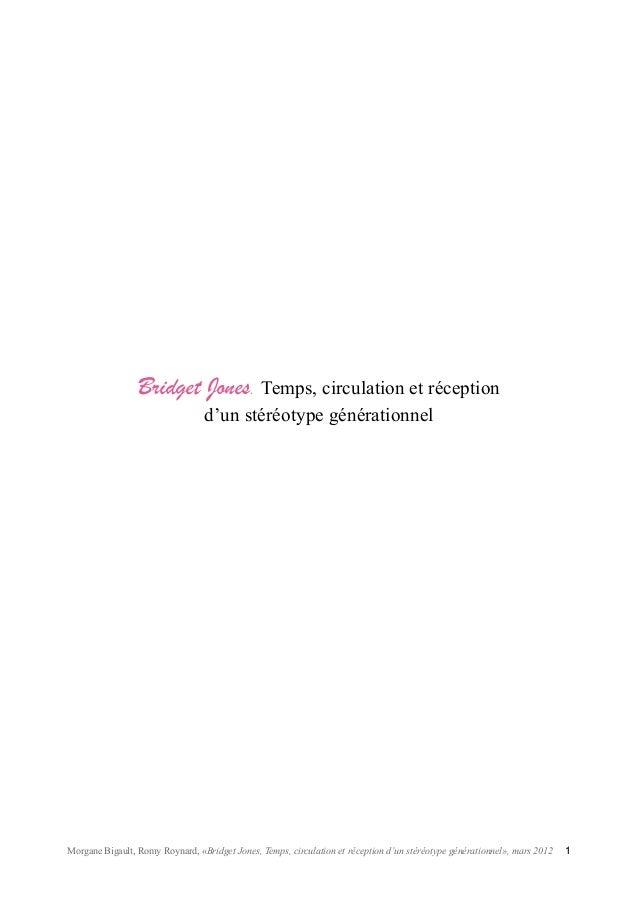Bridget Jones. Temps, circulation et réception d'un stéréotype générationnel  Morgane Bigault, Romy Roynard, «Bridget Jone...