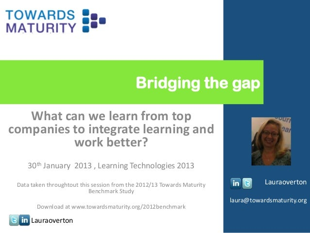 Bridging the gap   What can we learn from topcompanies to integrate learning and          work better?    30th January 201...