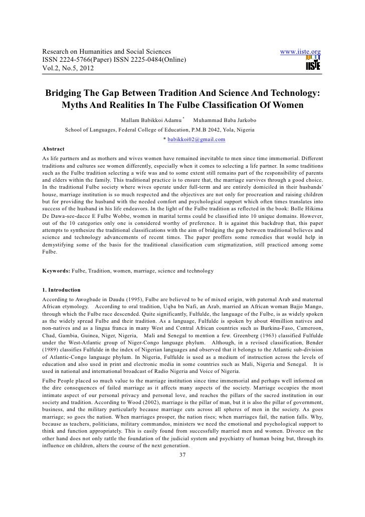 Bridging the gap between tradition and science and technology