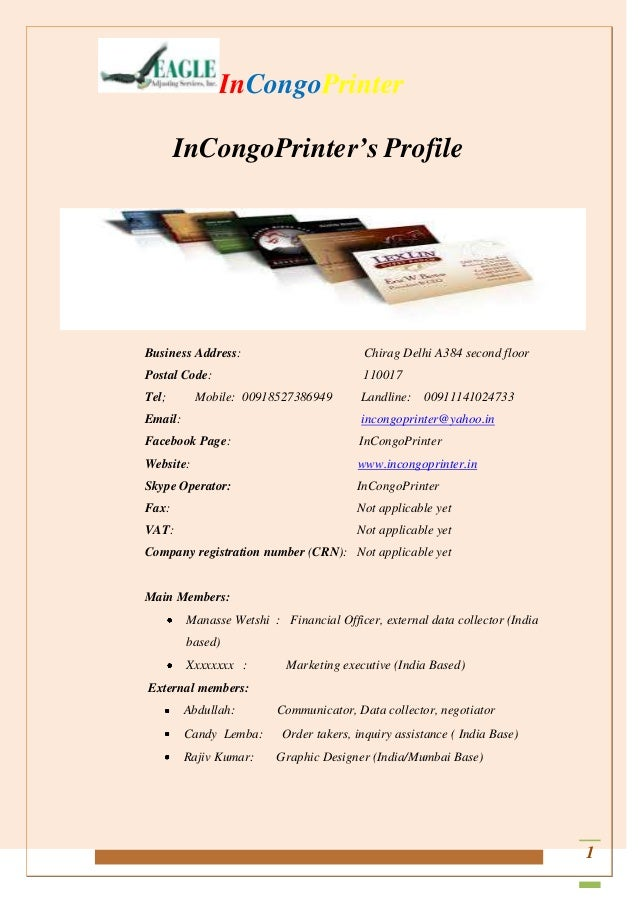 InCongoPrinter InCongoPrinter's Profile  Business Address:  Chirag Delhi A384 second floor  Postal Code:  110017  Tel;  La...