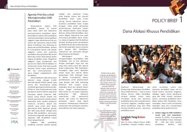 Brief 01, 2011: Dana Alokasi Khusus Pendidikan