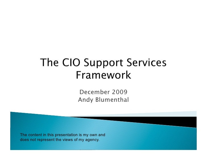 Andy Blumenthal Presents The CIO Support Services Framework (CSSF)