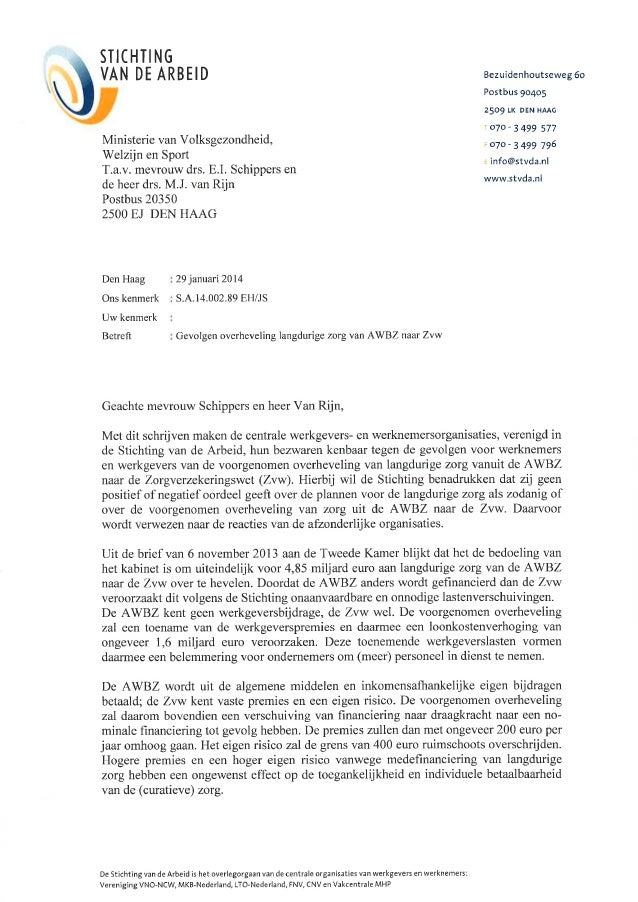 Brief aan vws