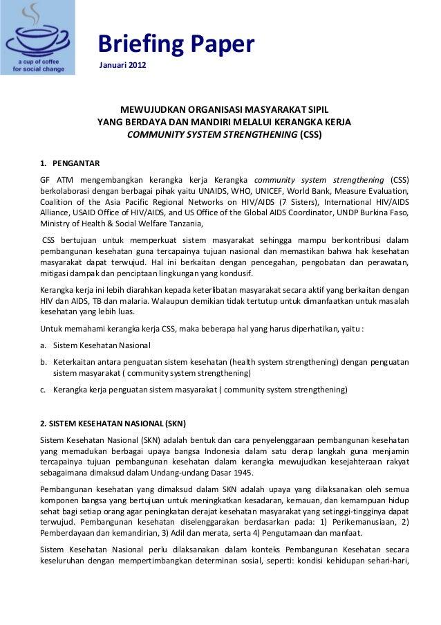 BriefingPaper      Januari2012  MEWUJUDKANORGANISASIMASYARAKATSIPIL YANGBERDAYADANMANDIRIMELALUIKERANGKA...
