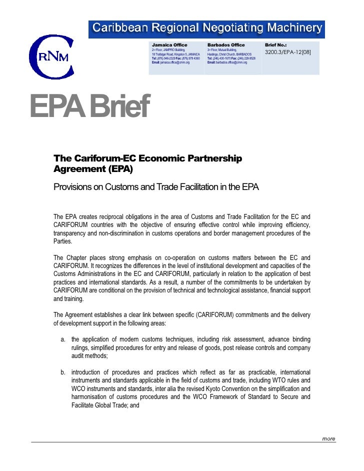 Brief: Customs and Trade Facilitation In The EPA