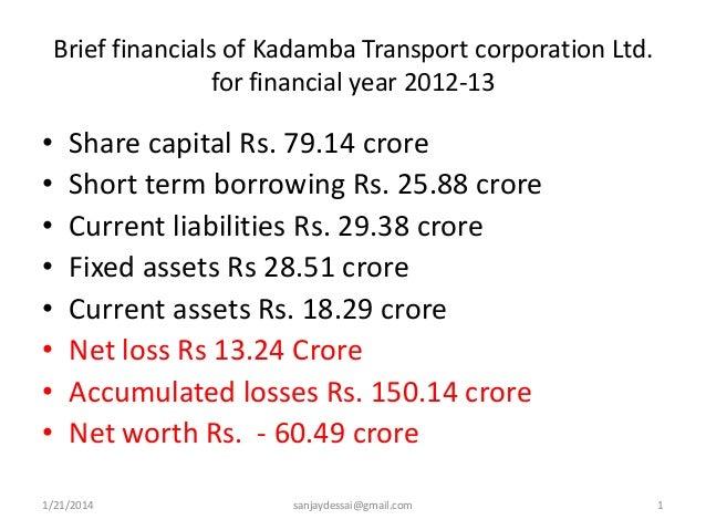 Brief financials of Kadamba Transport corporation Ltd. for financial year 2012-13  • • • • • • • •  Share capital Rs. 79.1...