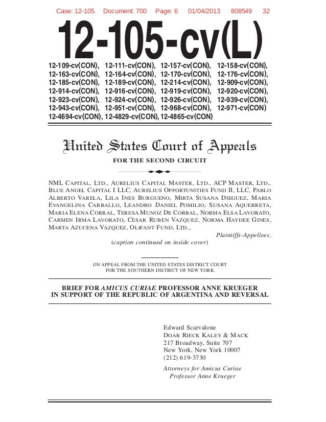 Brief for amicus curiae professor Anne Krueger in support of the Republic of Argentina and reversal