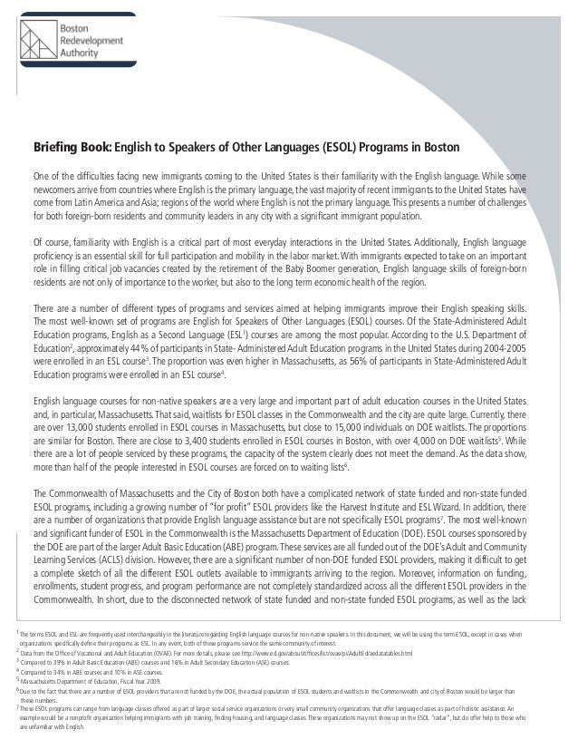 Briefing Book: English to Speakers of Other Languages (ESOL) Programs in Boston