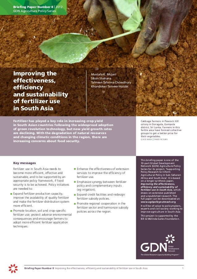 Briefing Paper Number 8 | 2012      GDN Agriculture Policy Series Improving the                                          ...