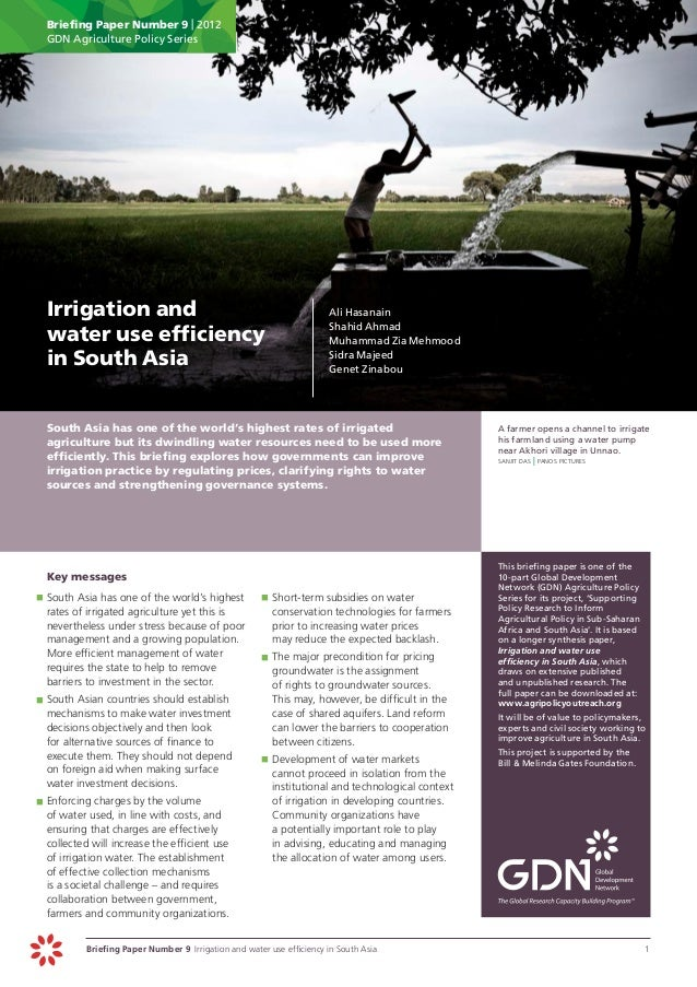 Briefing Paper Number 9   2012      GDN Agriculture Policy Series Irrigation and                                         ...