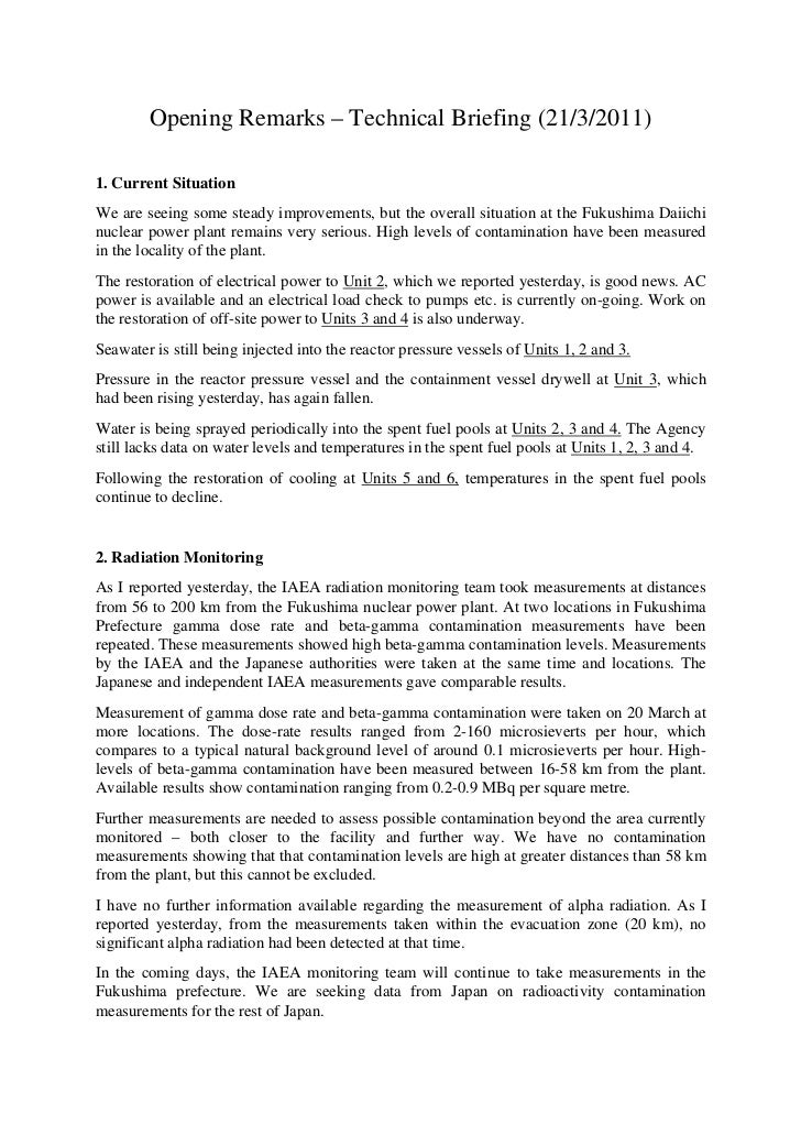 Technical Briefing on Radiological Situation in Japan - 21 March 2011