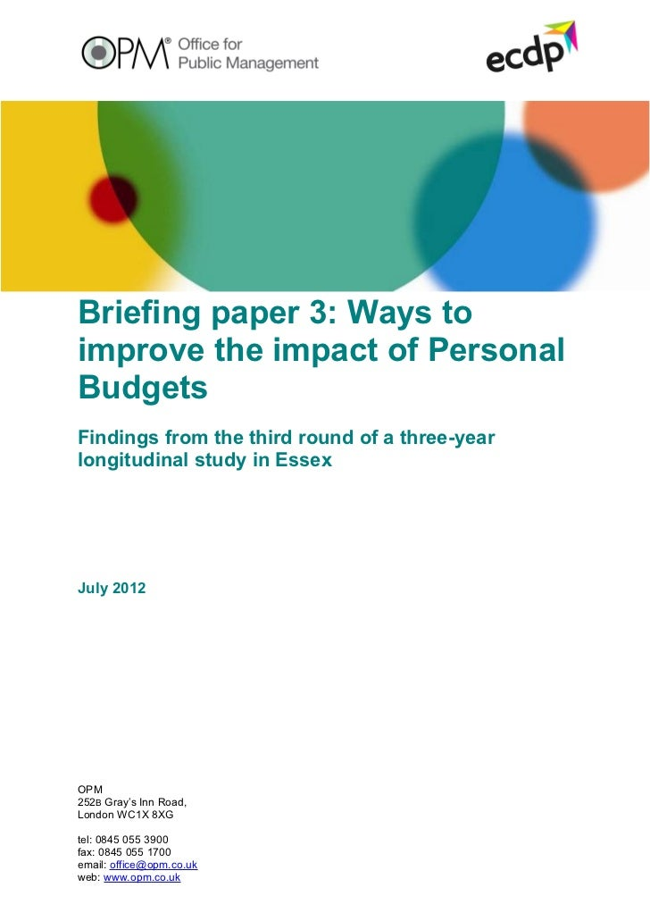 Briefing 3: Ways to improve the impact of personal budgets