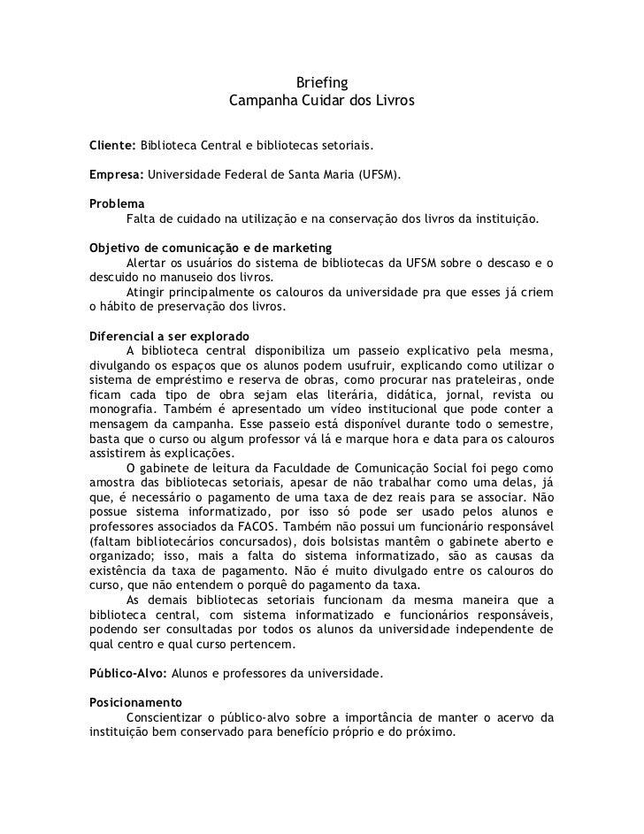 Briefing Campanha Biblioteca UFSM