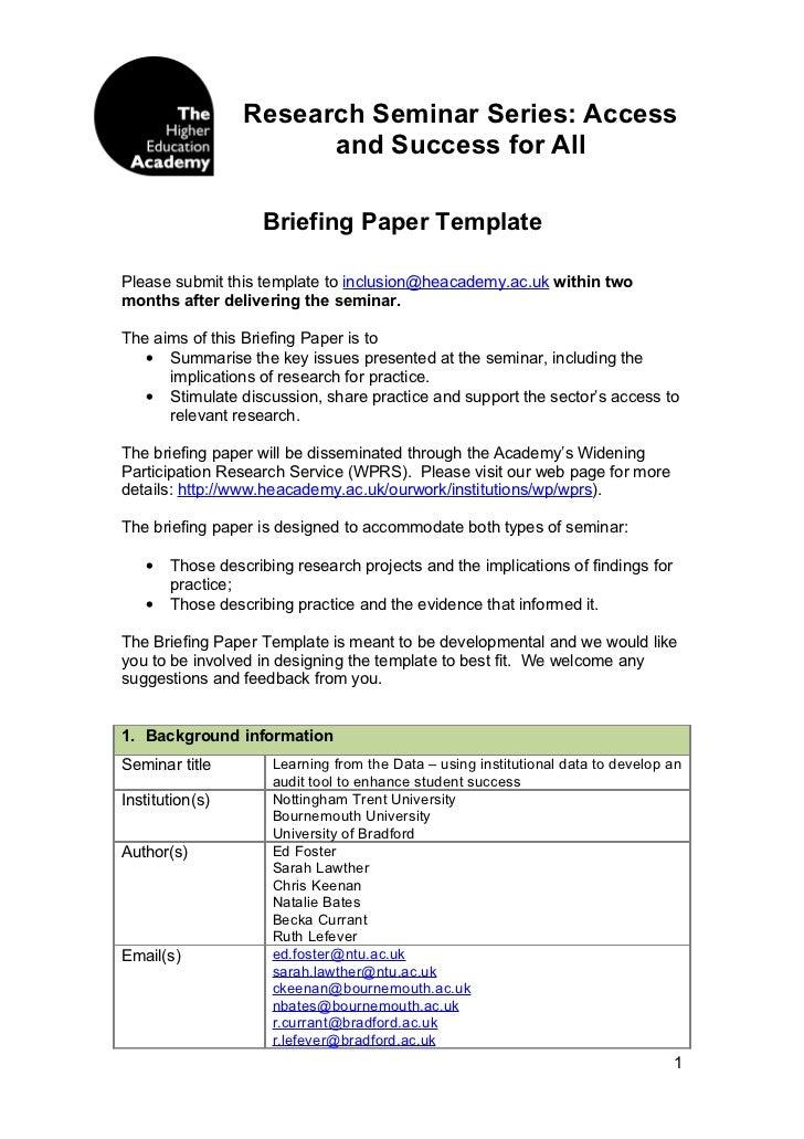 Briefing Paper Seminar Series 2009