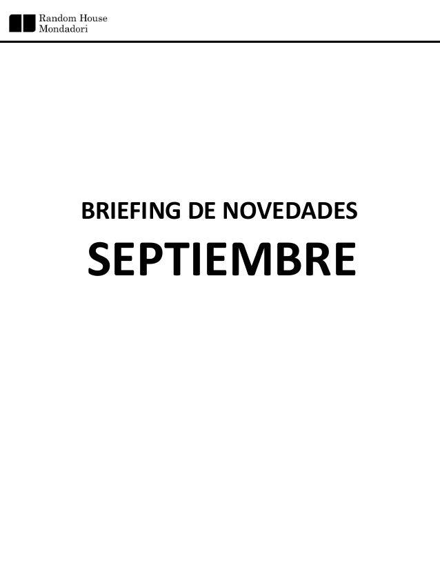 BRIEFING DE NOVEDADES SEPTIEMBRE