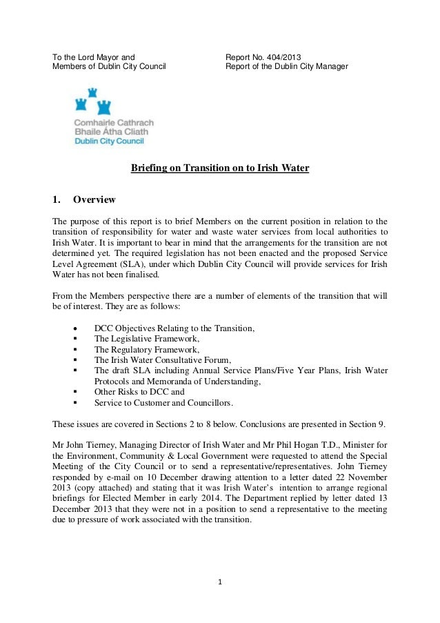 To the Lord Mayor and Members of Dublin City Council  Report No. 404/2013 Report of the Dublin City Manager  Briefing on T...