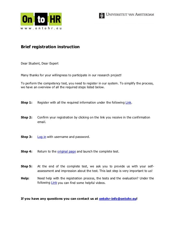 Brief registration instructionDear Student, Dear ExpertMany thanks for your willingness to participate in our research pro...