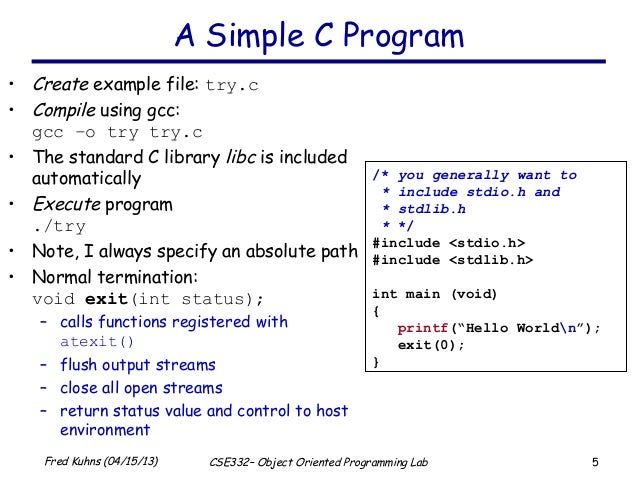 Brief introduction to the c programming language Compiler for c language