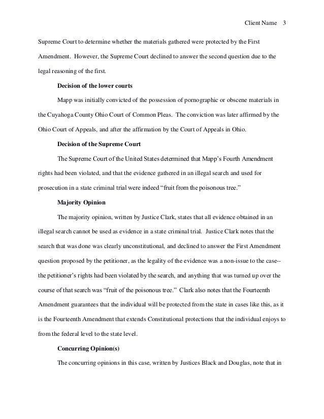 Brief of Mapp v Ohio  1961   Case Study Sample W9r1p4RE