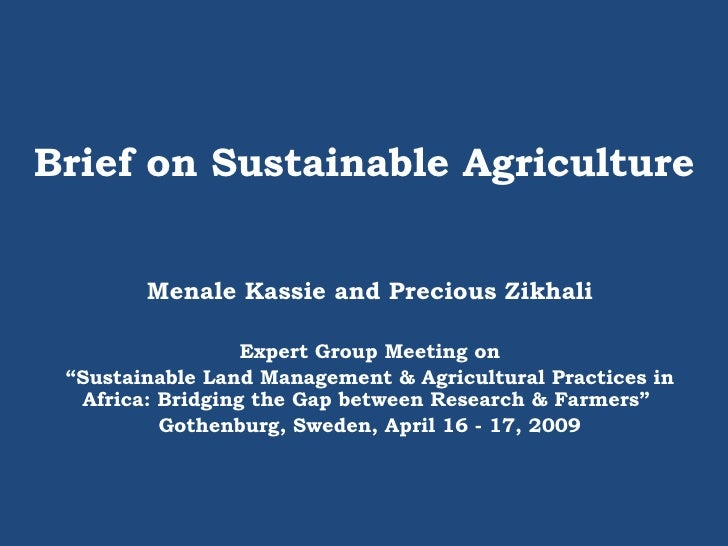 "Brief on Sustainable Agriculture Menale Kassie and Precious Zikhali Expert Group Meeting on "" Sustainable Land Management ..."