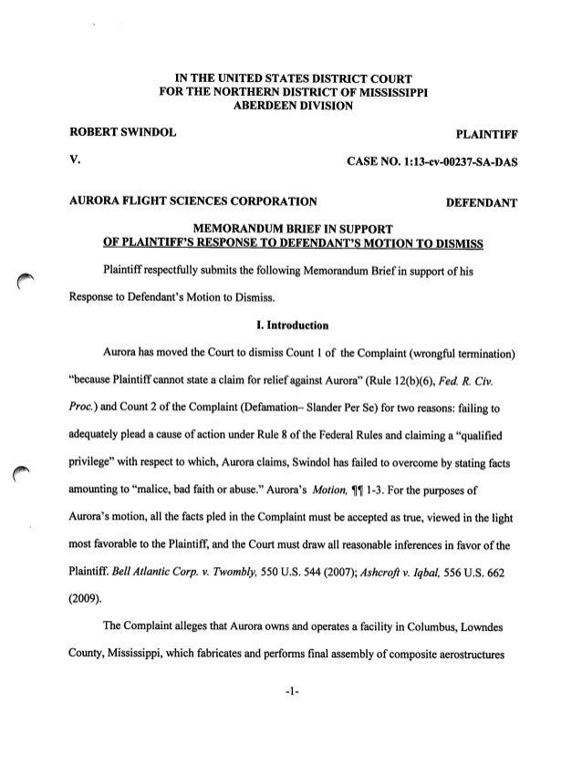 Brief opposing dismissal of Swindol Case - MS Self Defense Law