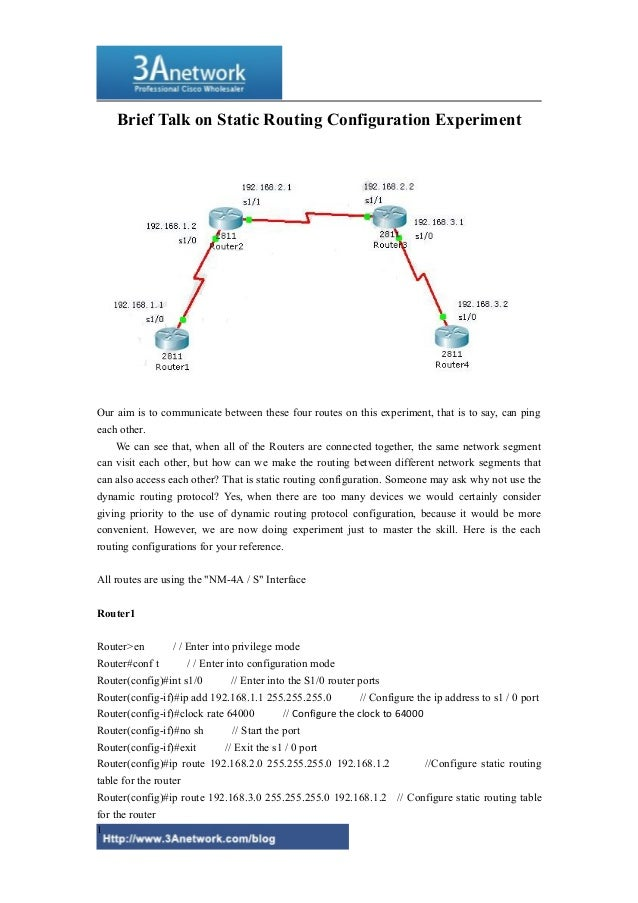 Brief Talk on Static Routing Configuration Experiment Our aim is to communicate between these four routes on this experime...