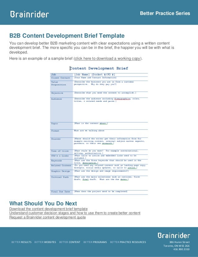 Brief template and sample b2b content development for Marketing research brief template