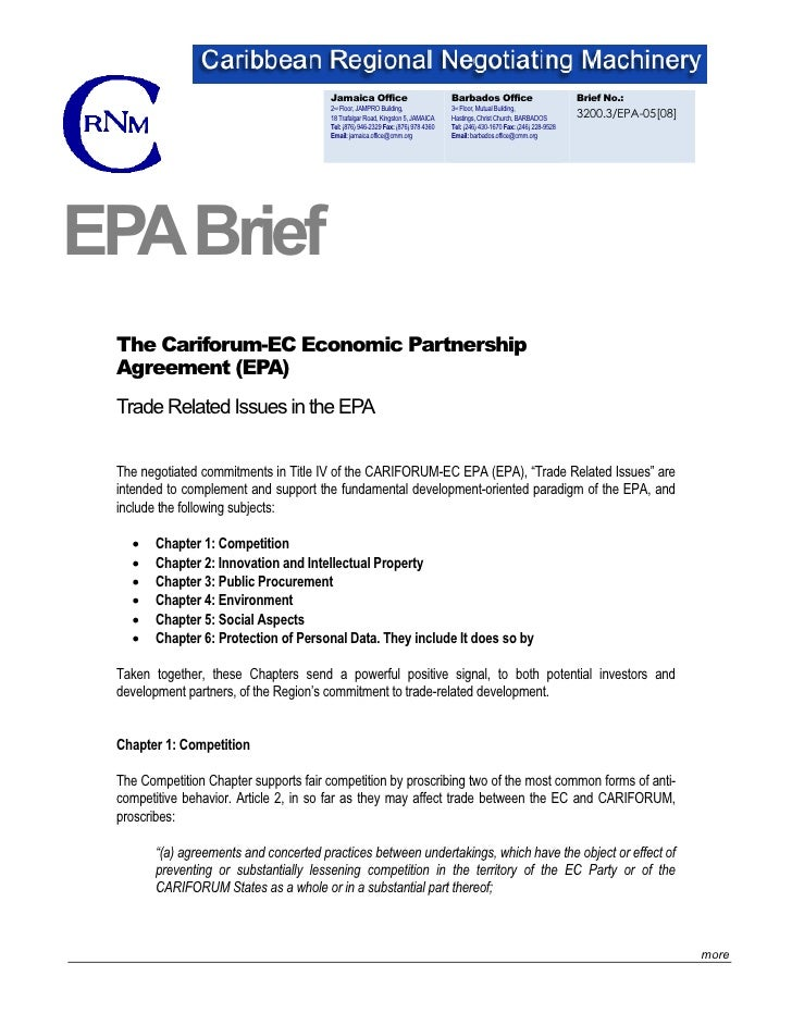 Brief: Trade Related Issues In The EPA