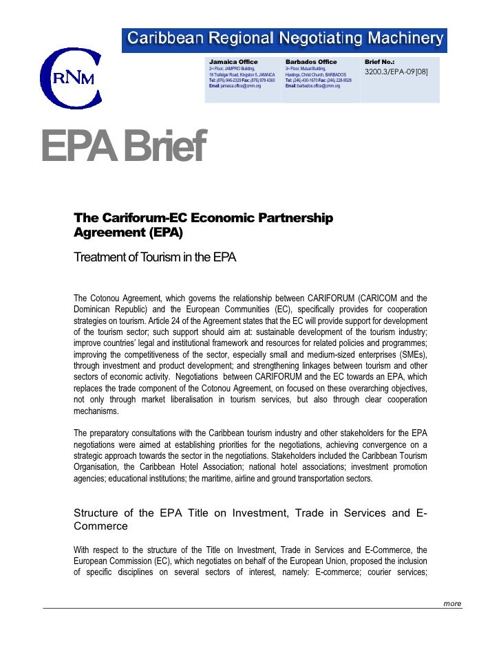 Brief: Treatment of Tourism In The EPA