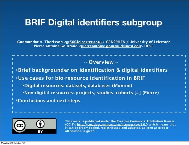 BRIF workshop Toulouse 2012 Digital IDs subgroup