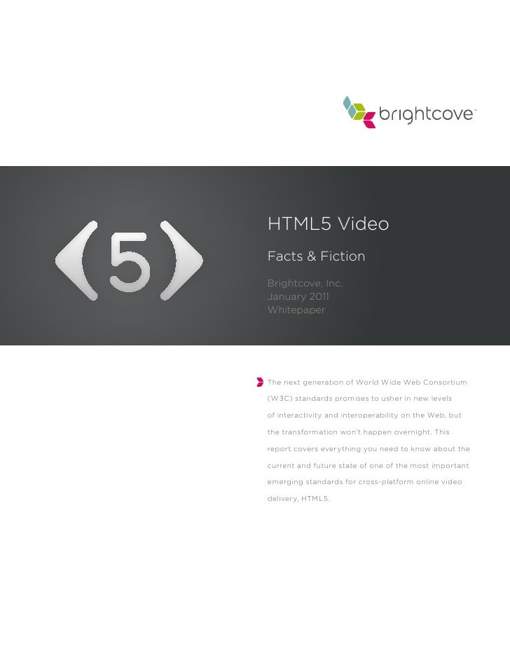 HTML5 VideoFacts & FictionBrightcove, Inc.January 2011WhitepaperThe next generation of World Wide Web Consortium(W3C) stan...