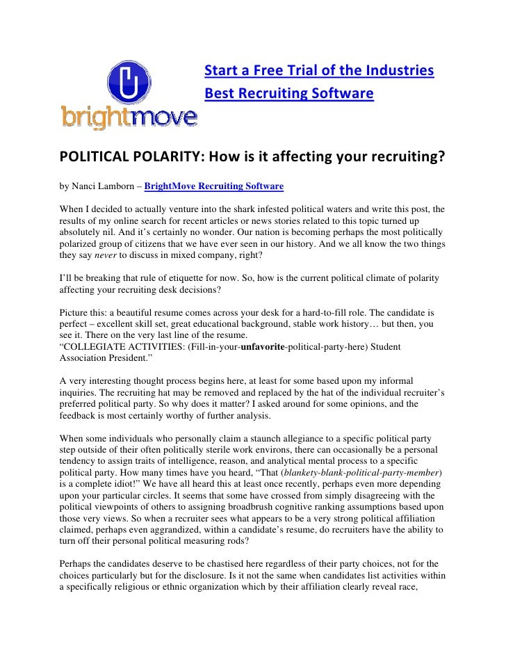 Brightmove Recruiting Software  - Political Polarity In Recruiting