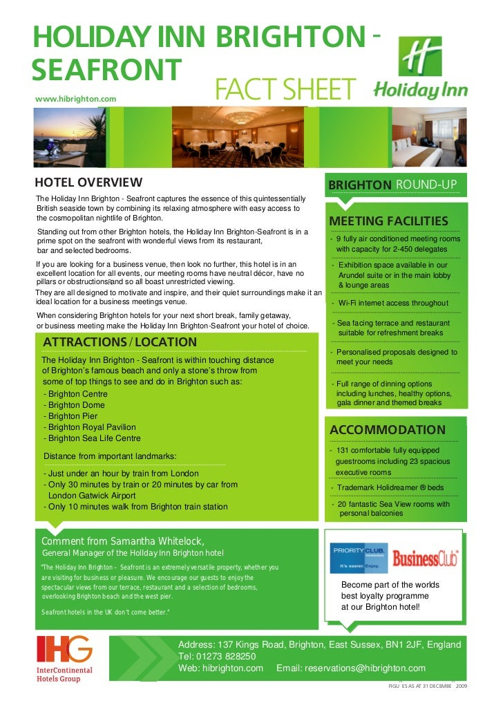 HOLIDAY INN BRIGHTON -SEAFRONT            FACT SHEETwww.hibrighton.comHOTEL OVERVIEW                                      ...