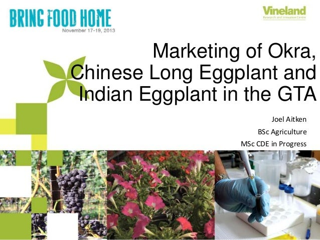 Marketing of Okra, Chinese Long Eggplant and Indian Eggplant in the GTA Joel Aitken BSc Agriculture MSc CDE in Progress