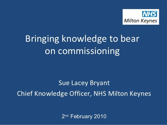 Bringing knowledge to bear       on commissioning            Sue Lacey BryantChief Knowledge Officer, NHS Milton Keynes   ...