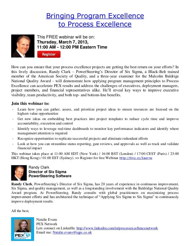 Bringing Program Excellence                          to Process Excellence                This FREE webinar will be on:   ...