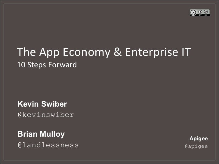 The	  App	  Economy	  &	  Enterprise	  IT	  10	  Steps	  Forward	  Kevin Swiber@kevinswiberBrian Mulloy                  ...