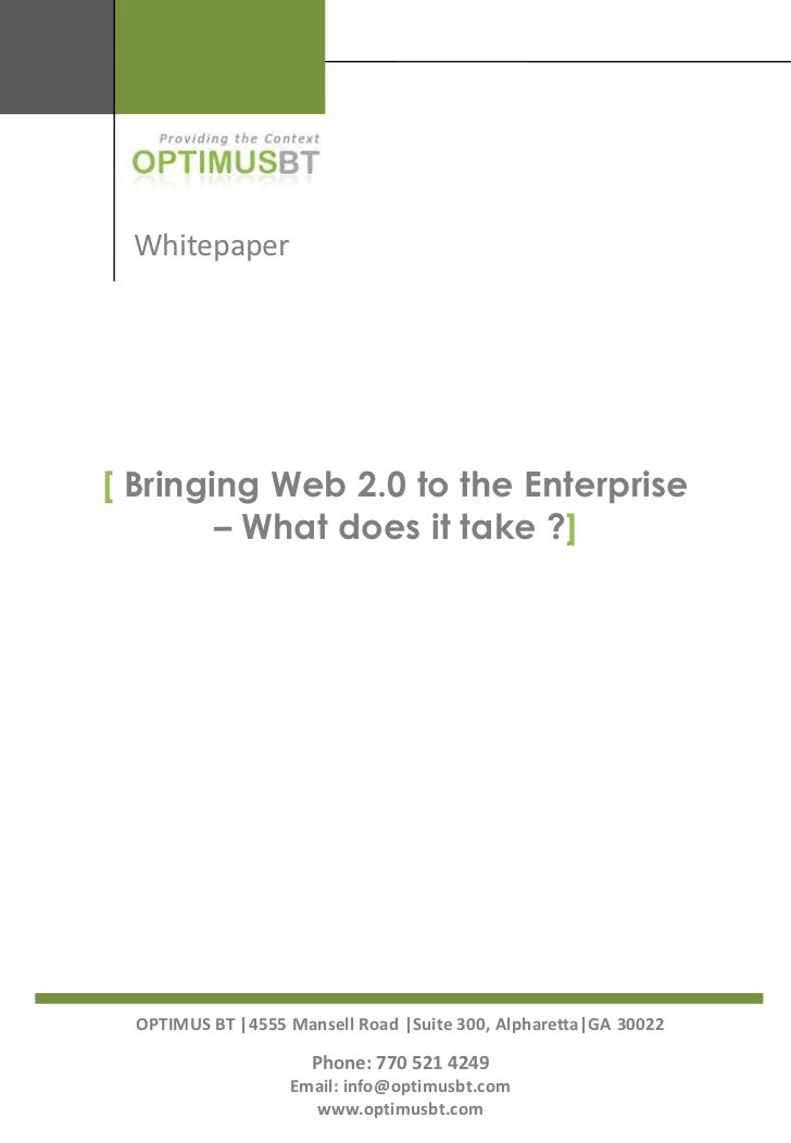 Bringing Web 2.0 To The Enterprise   What Does It Take