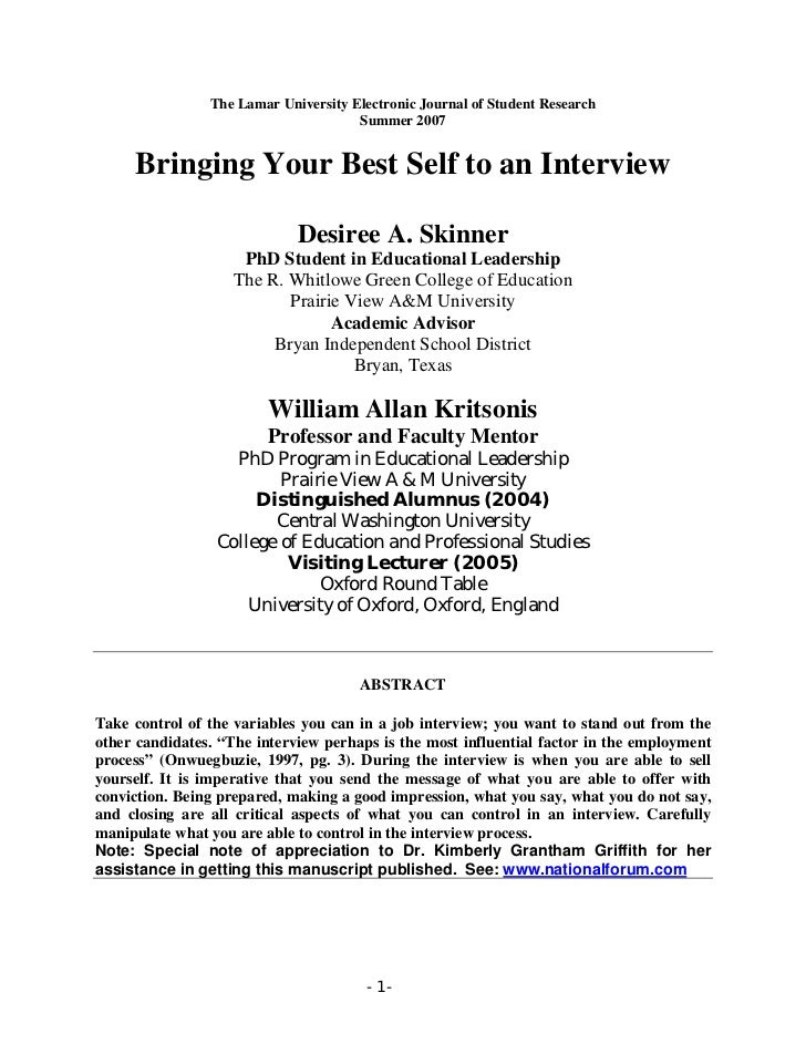 Bringing Your Best Self To An Interview