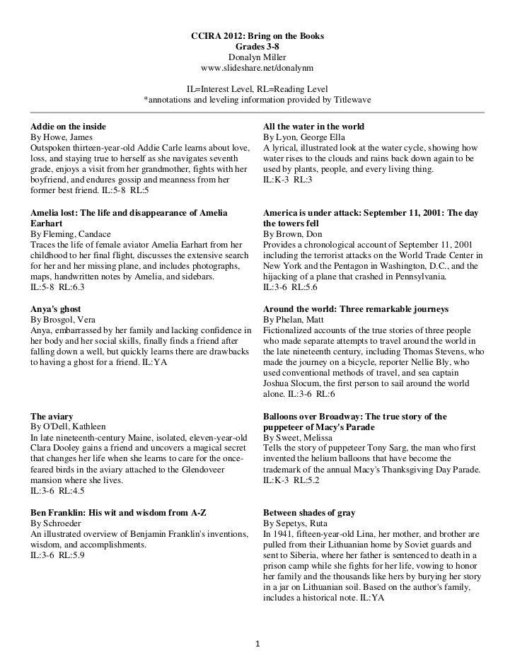 CCIRA 2012: Bring on the Books                                                     Grades 3-8                             ...